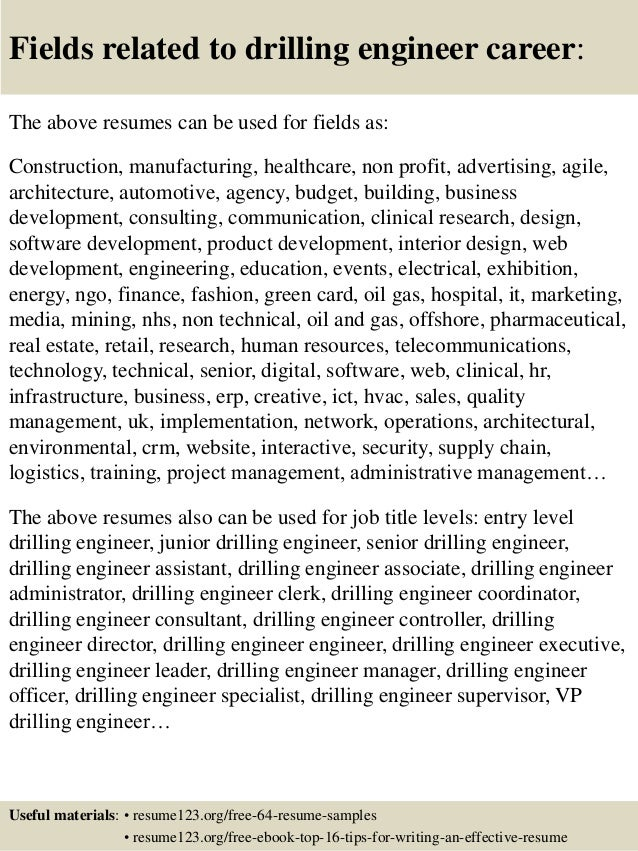 16 fields related to drilling engineer - Drilling Engineer Sample Resume