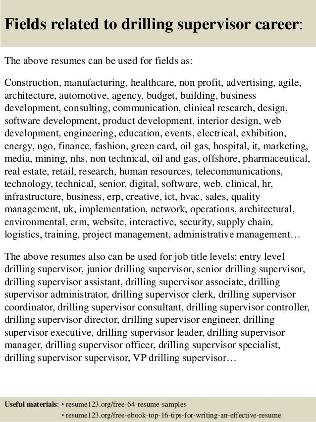 top 8 drilling supervisor resume sles