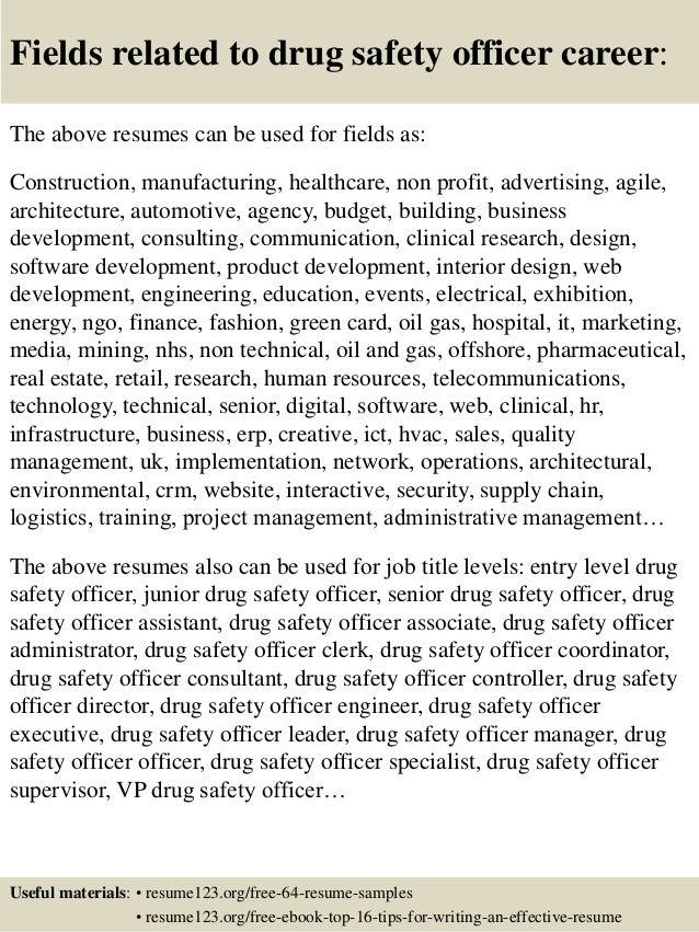 top 8 drug safety officer resume samples