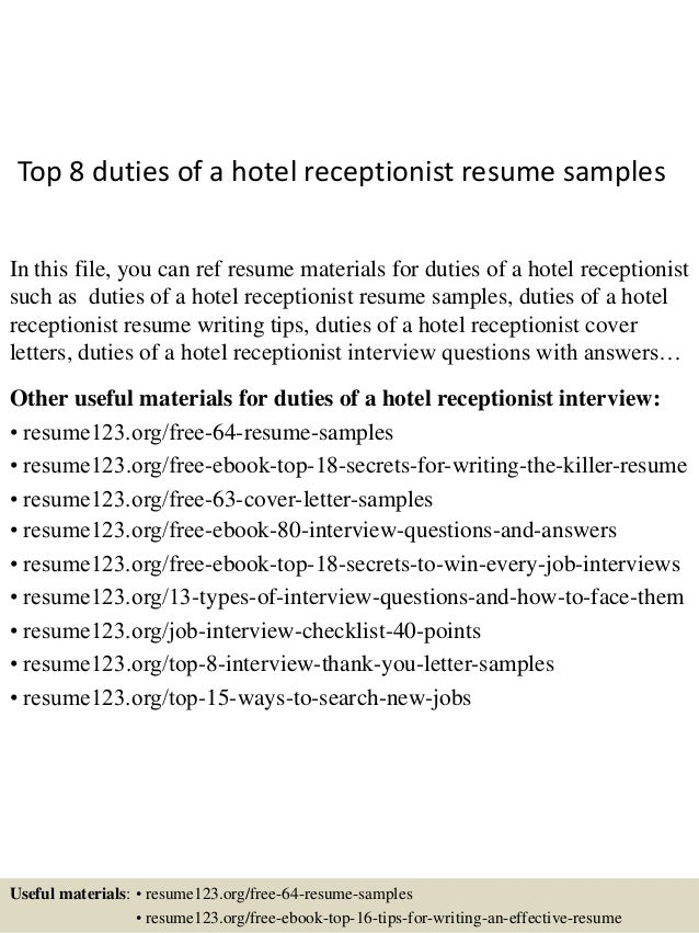 Top 8 Duties Of A Hotel Receptionist Resume Samples In This File, ...  Receptionist Responsibilities Resume