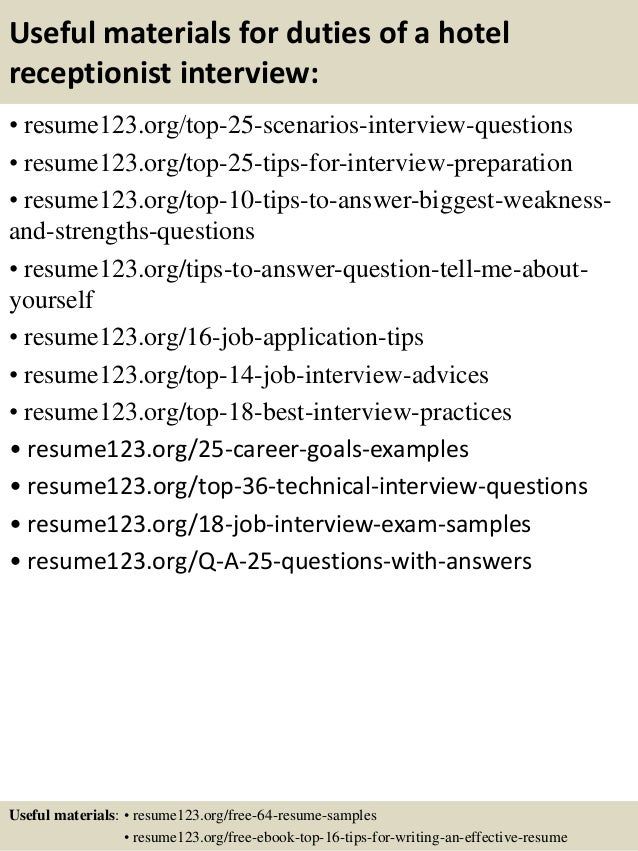 Top 8 duties of a hotel receptionist resume samples – Hotel Receptionist CV