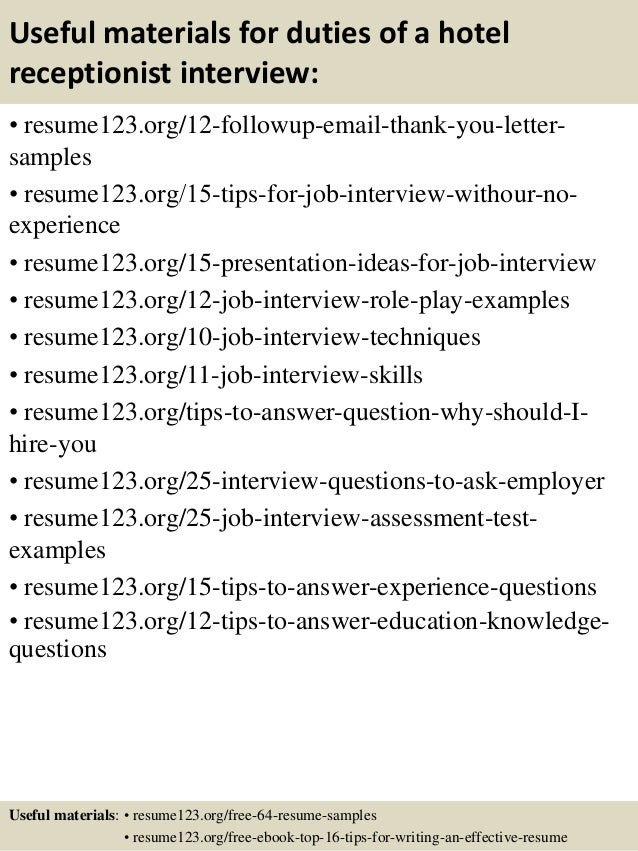 Top  Duties Of A Hotel Receptionist Resume Samples
