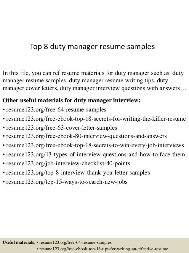 Top 8 duty manager resume samples