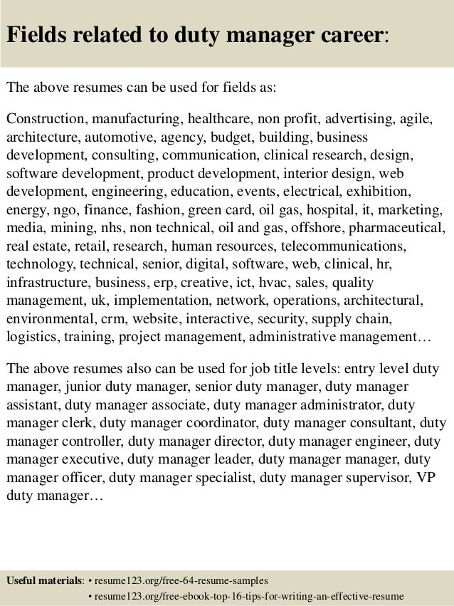 top 8 duty manager resume samples - Resume Duty Letter After Leave