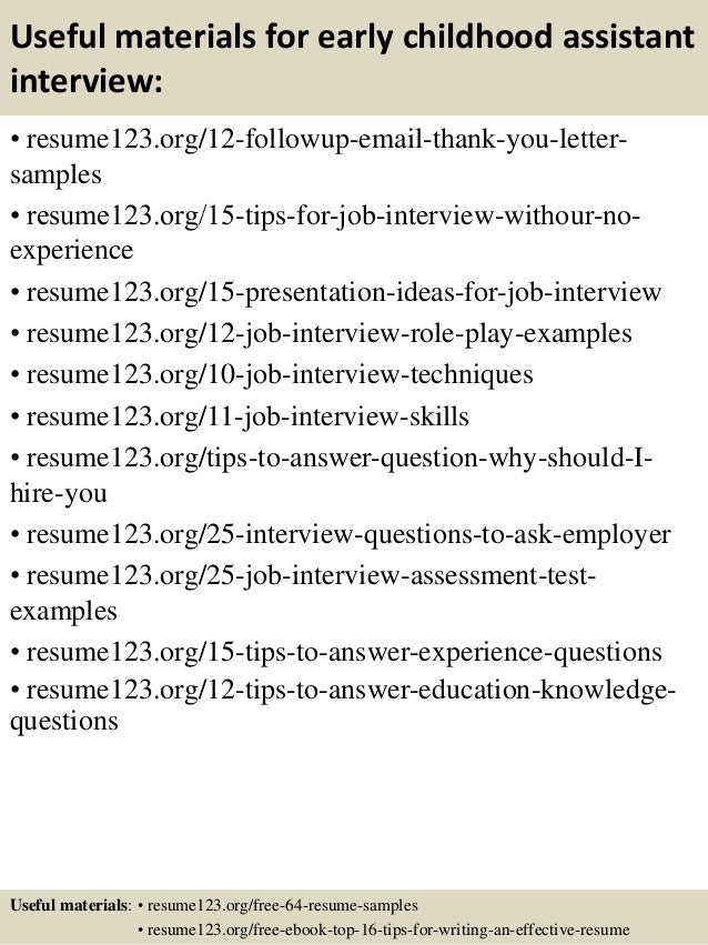 Top 8 early childhood assistant resume samples