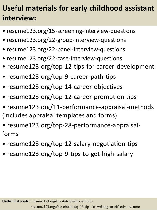 sample resume for early childhood assistant