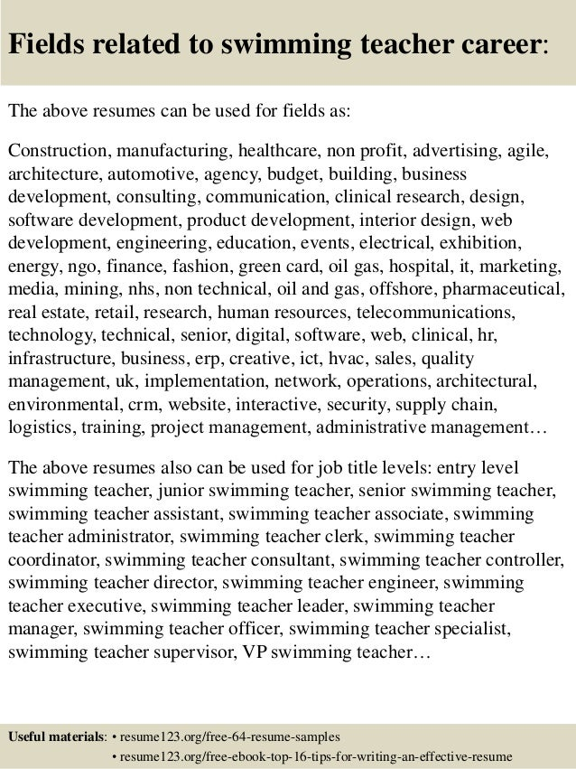 ... 16. Fields Related To Swimming Teacher ...