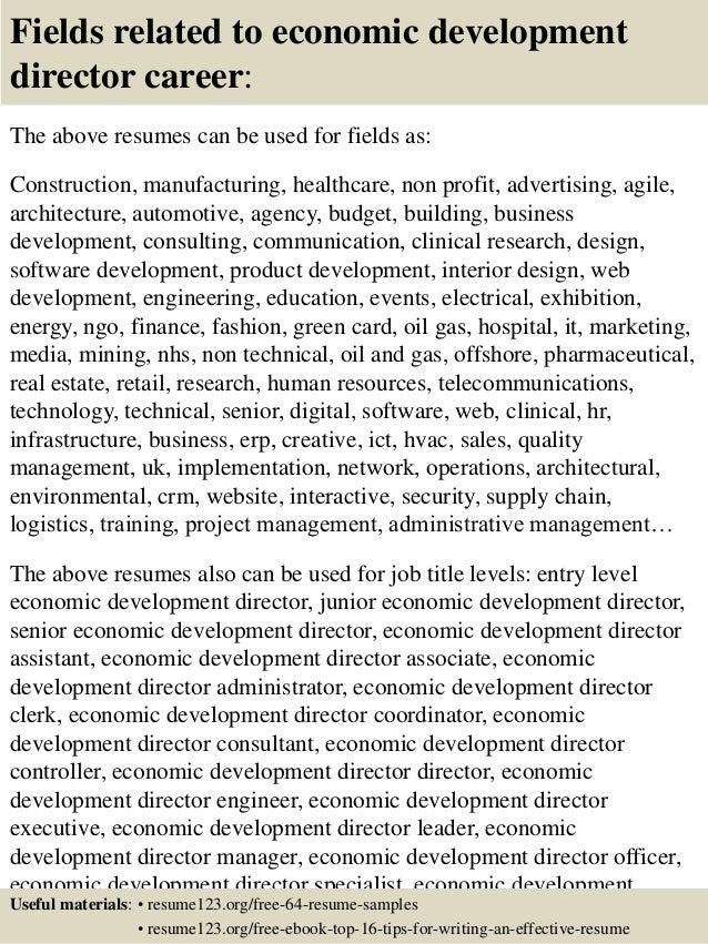 Top 8 economic development director resume samples