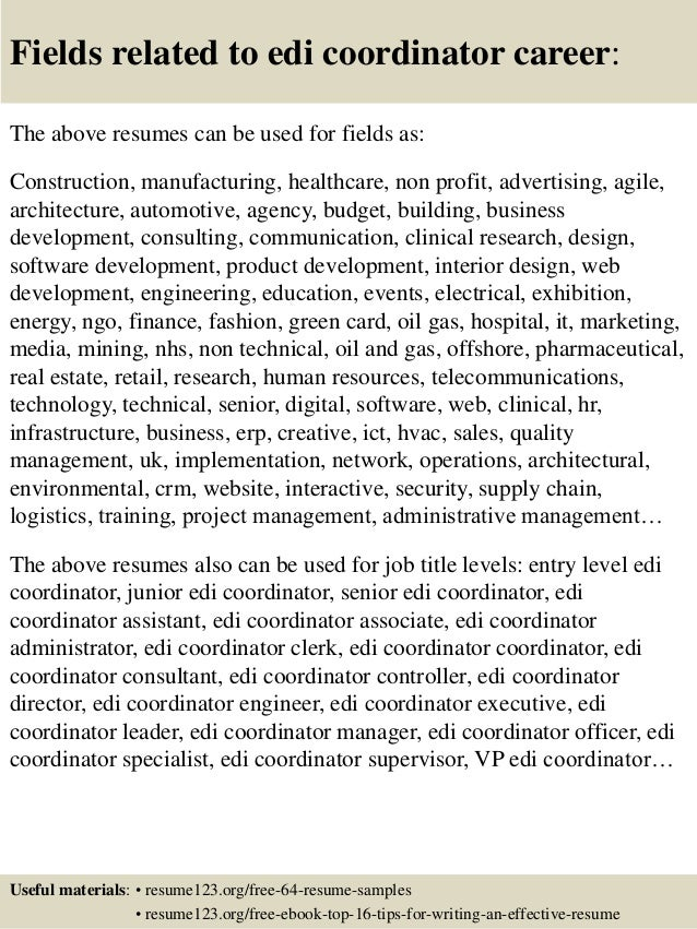 Top 8 edi coordinator resume samples