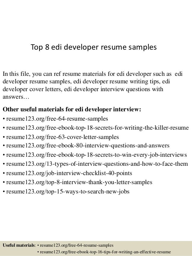 Great Top 8 Edi Developer Resume Samples In This File, You Can Ref Resume  Materials For ...