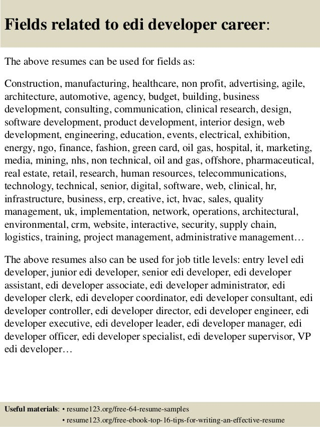 Top 8 edi developer resume samples