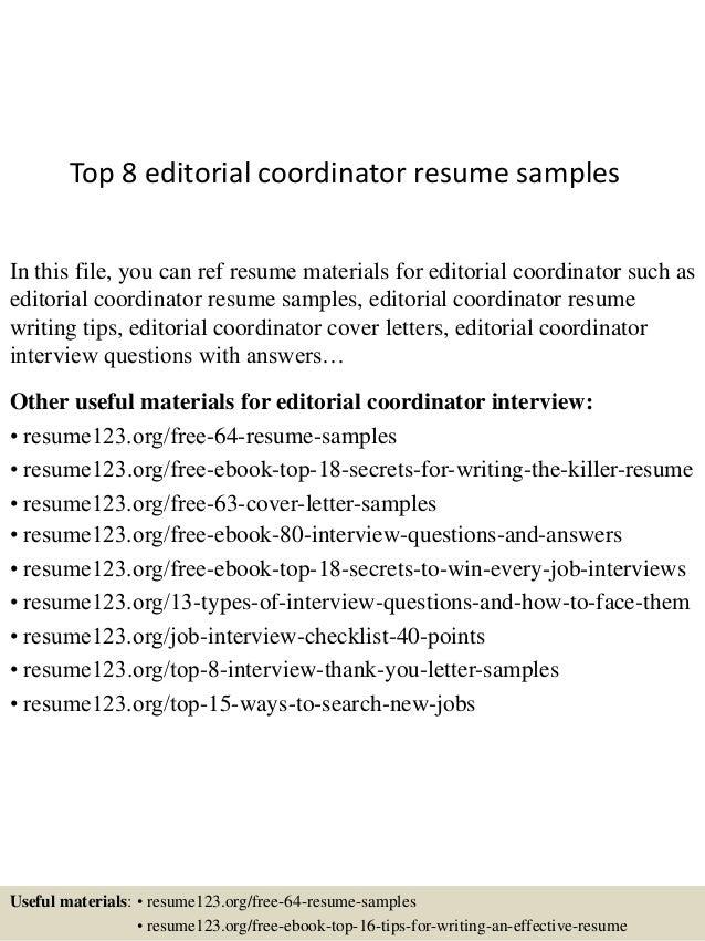 Top 8 editorial coordinator resume samples