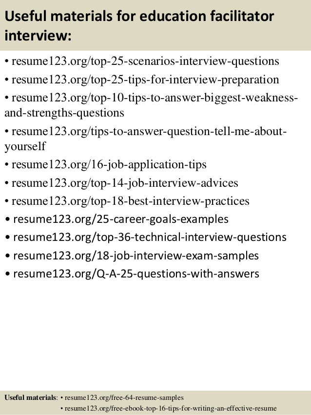 Top 8 education facilitator resume samples – Sample Resume for Education
