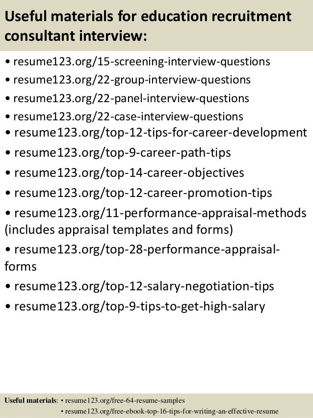 Top 8 education recruitment consultant resume samples