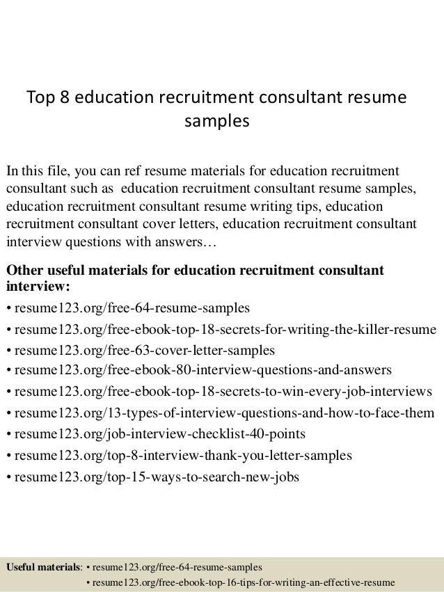 Topeducationrecruitmentconsultantresumesamples Jpgcb - Free rush resume template