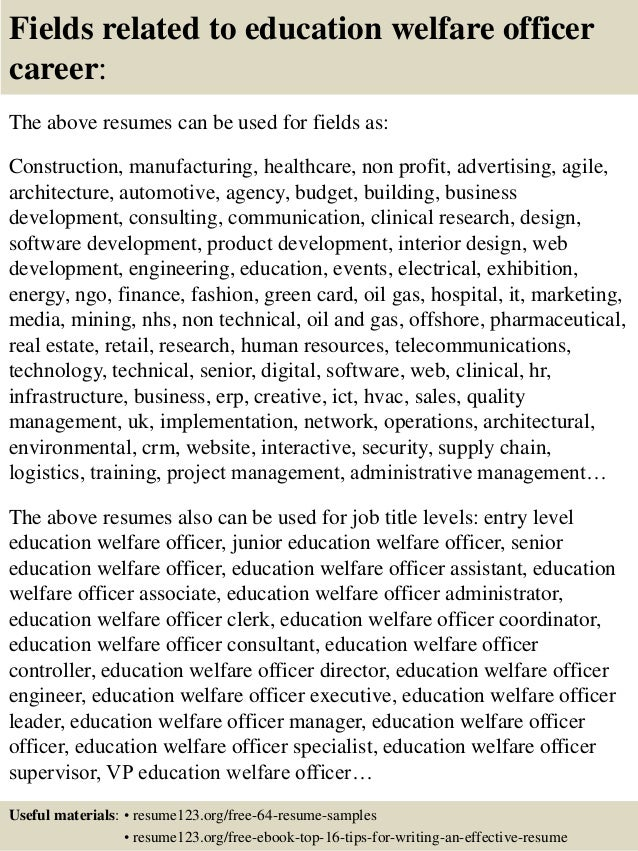 16 fields related to education welfare officer - Education Welfare Officer Sample Resume