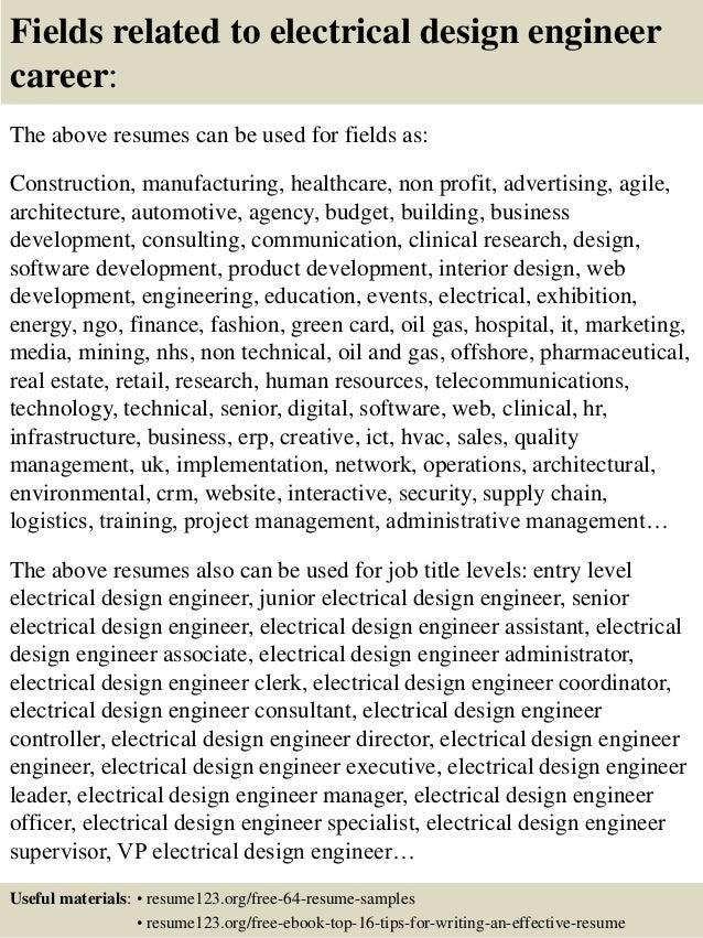 Top 8 electrical design engineer resume samples