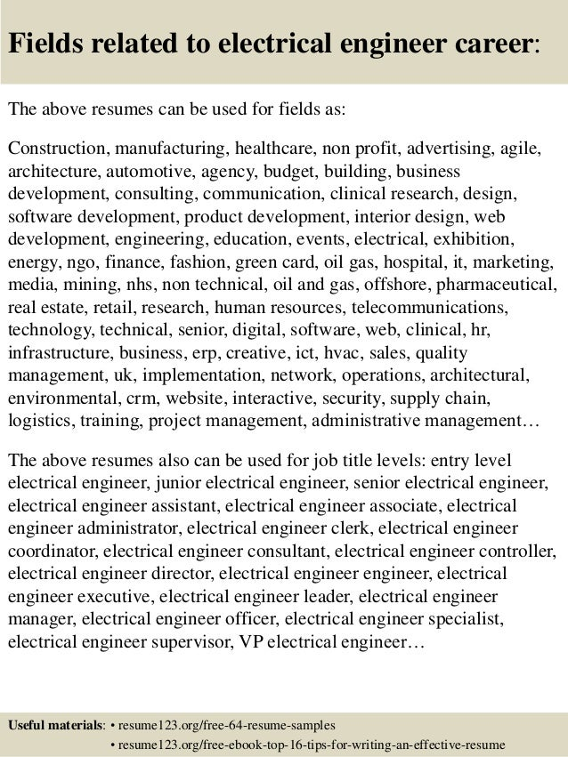 ... 16. Fields Related To Electrical Engineer ...  Entry Level Electrical Engineering Resume