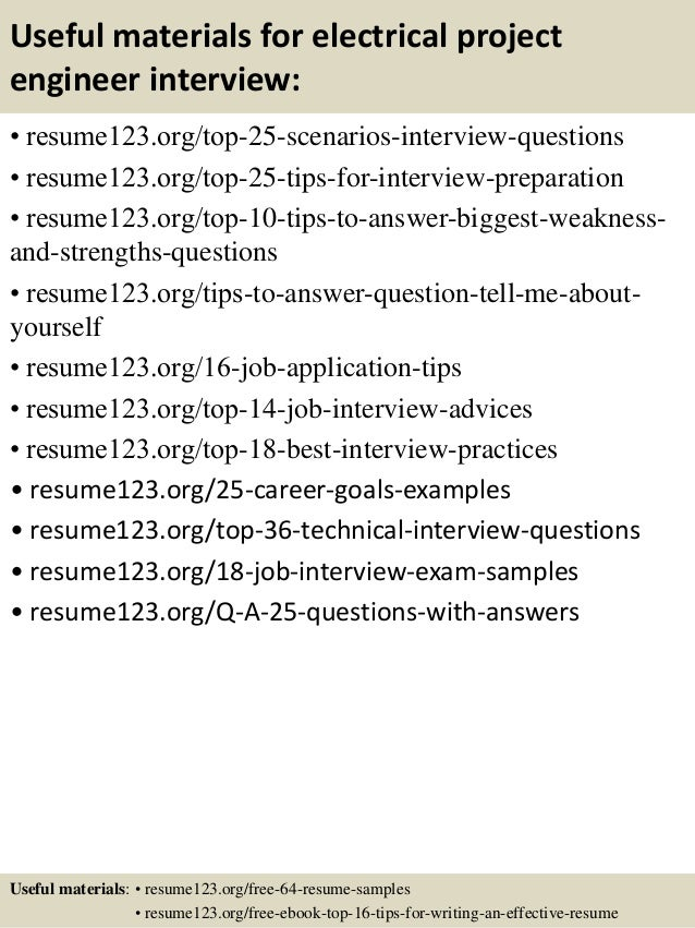 13 useful materials for electrical project engineer - Electrical Project Engineer Sample Resume
