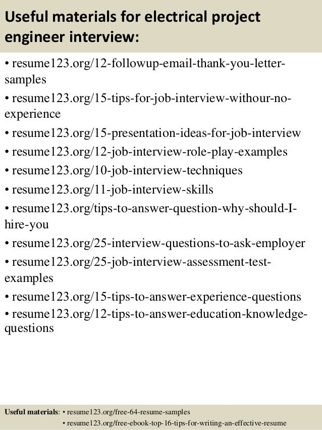 14 useful materials for electrical project engineer - Electrical Project Engineer Sample Resume