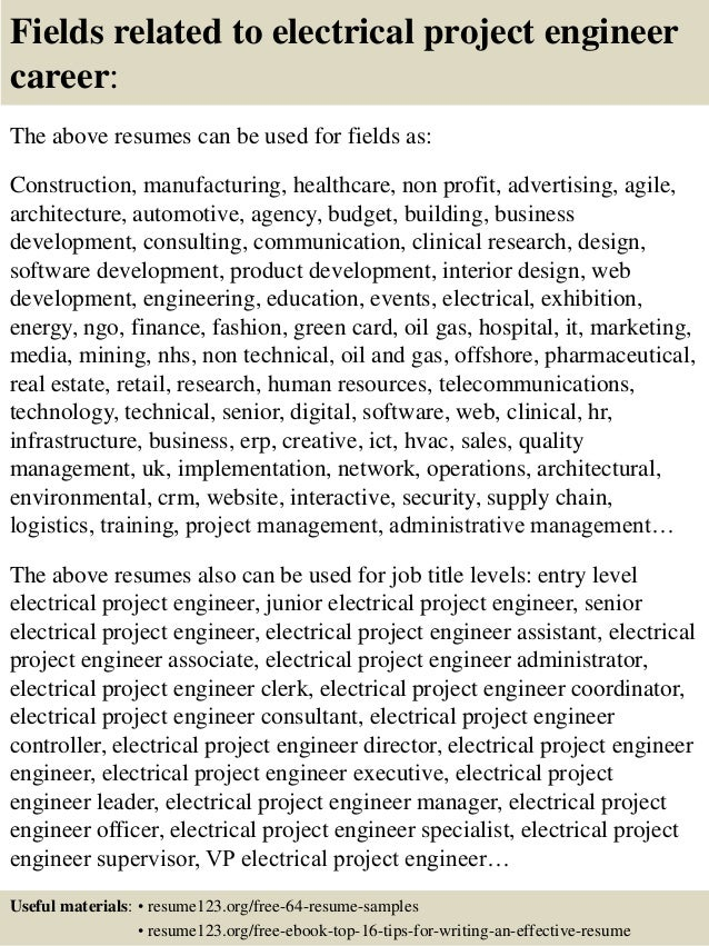 16 fields related to electrical project engineer - Electrical Project Engineer Sample Resume