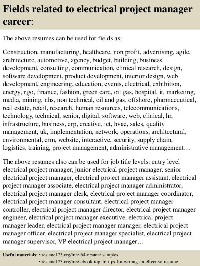 ... 16. Fields Related To Electrical Project Manager ...  Assistant Project Manager Resume