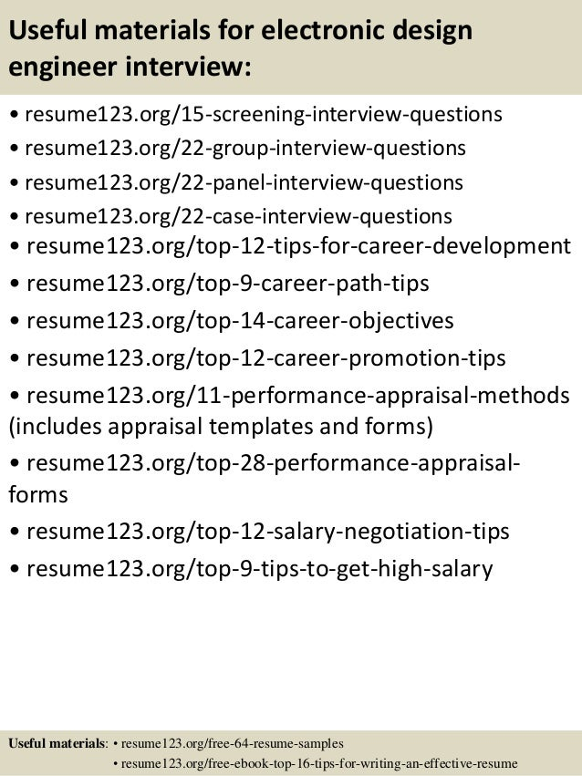 15 useful materials for electronic design engineer - Electronic Design Engineer Sample Resume