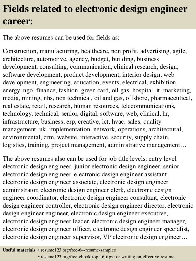 16 fields related to electronic design engineer