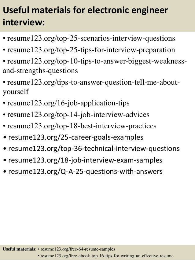 13 useful materials for electronic engineer - Electronics Engineer Sample Resume