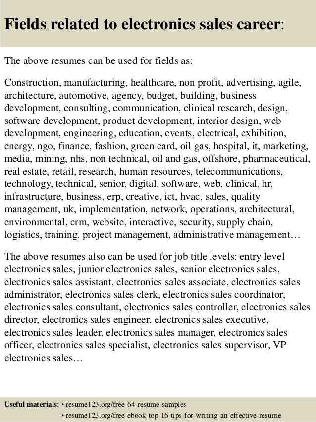 ... 16. Fields Related To Electronics Sales ...