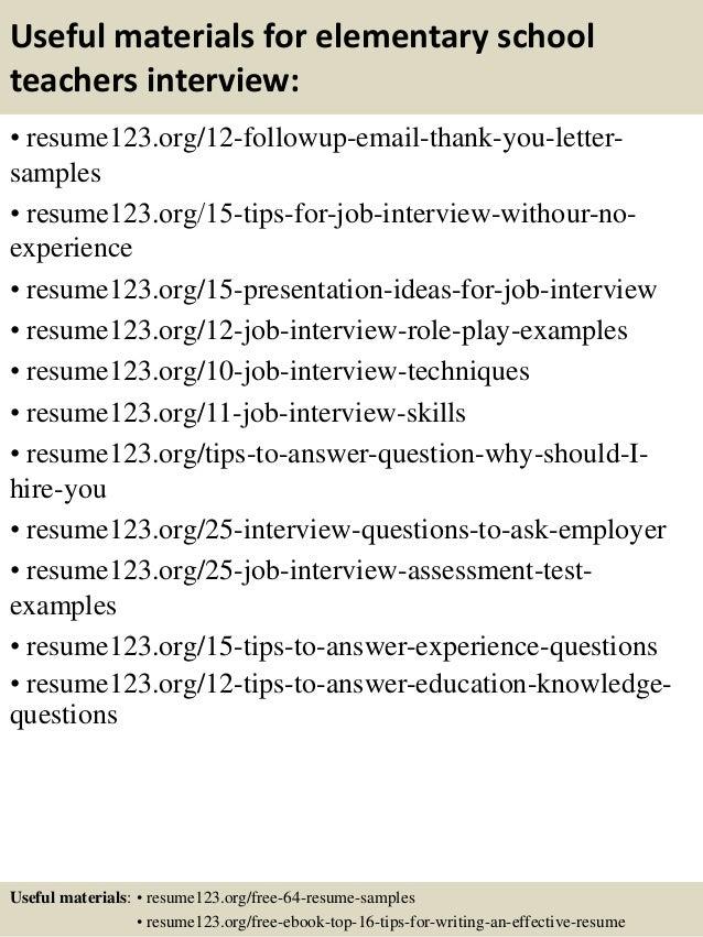 top 8 elementary school teachers resume samples