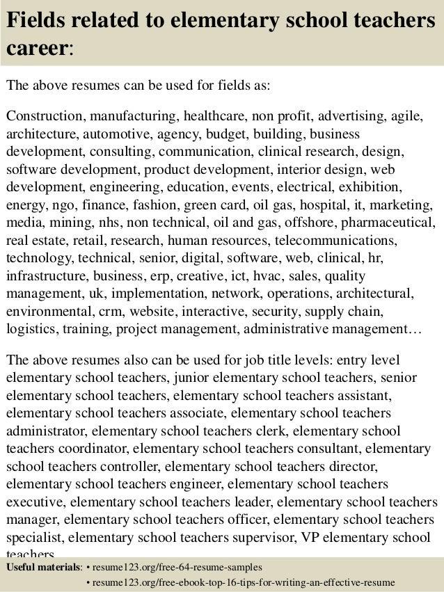 teacher resume examples elementary school