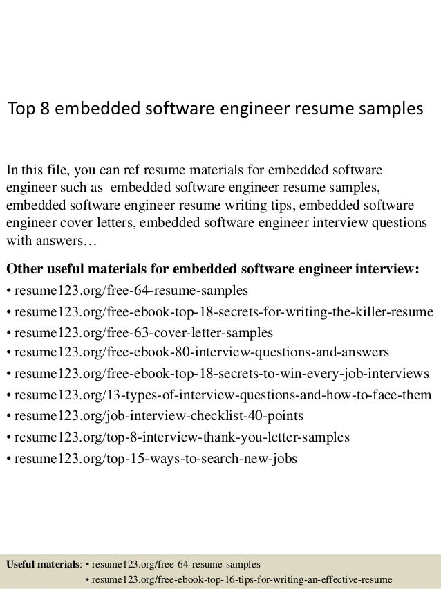 top 8 embedded software engineer resume samples in this file you can ref resume materials - Sample Software Engineer Resume