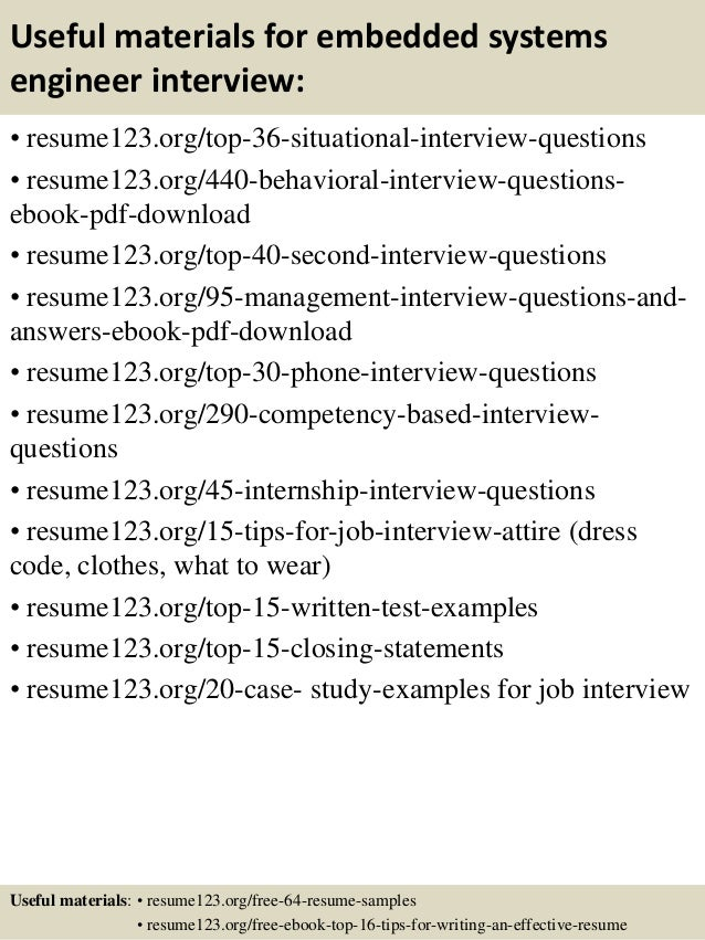 ... 12. Useful Materials For Embedded Systems Engineer ...  Systems Engineer Resume