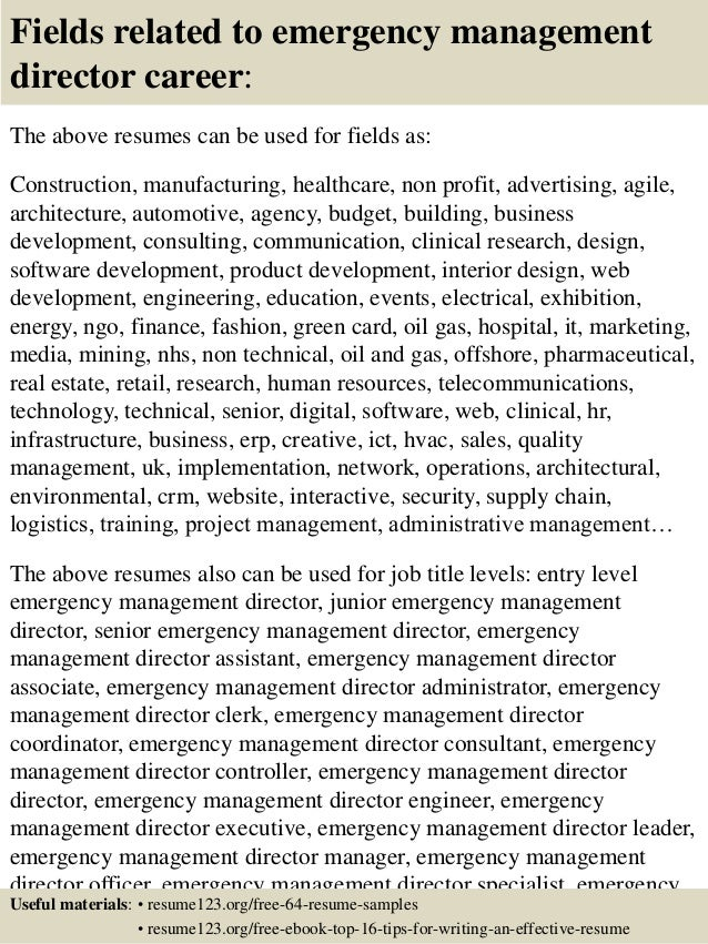 Top 8 emergency management director resume samples