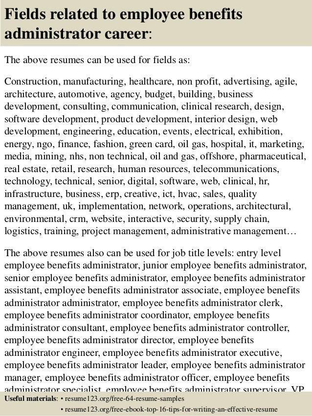 Top 8 employee benefits administrator resume samples