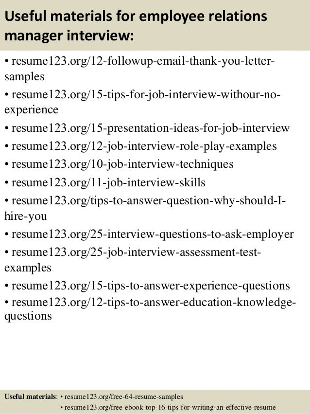 14 useful materials for employee relations manager. Resume Example. Resume CV Cover Letter