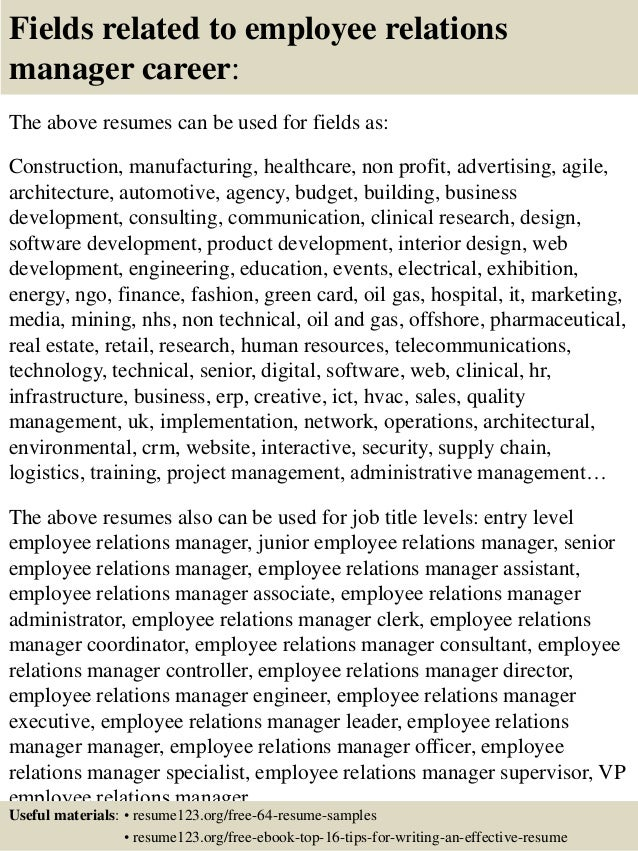 16 fields related to employee relations manager - Employee Relation Manager Resume