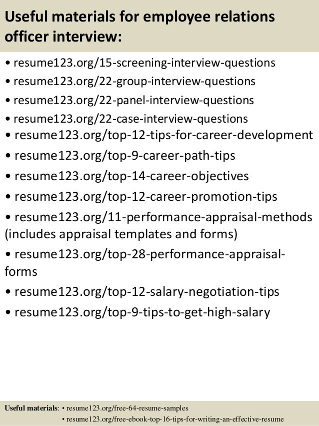 Top 8 employee relations officer resume samples