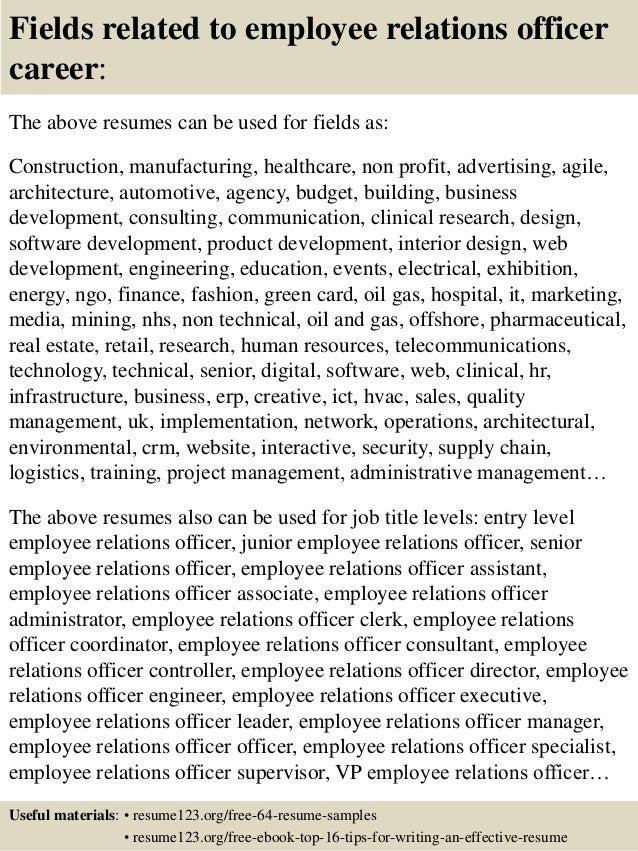 16 fields related to employee relations officer - Employee Relations Officer Sample Resume