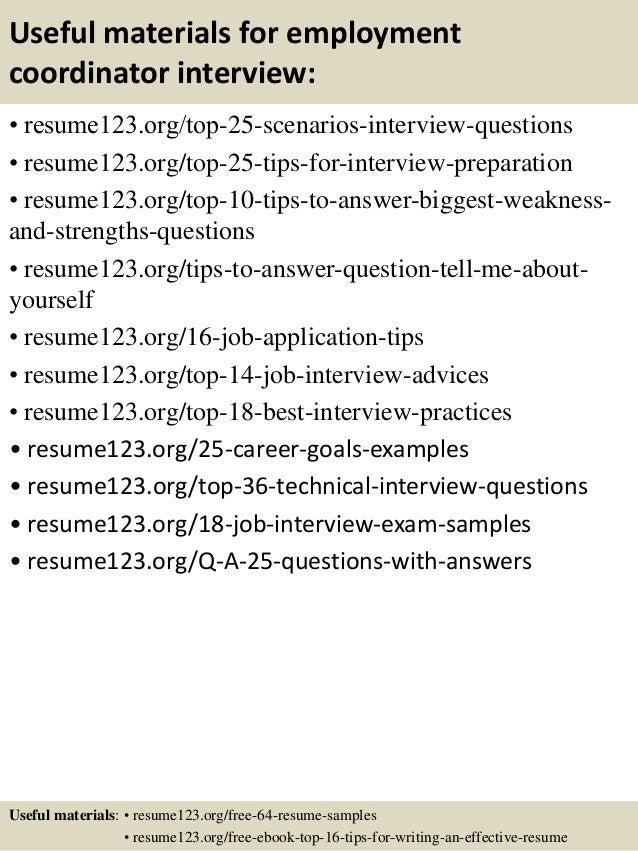top 8 employment coordinator resume samples - Sample Employment Resume