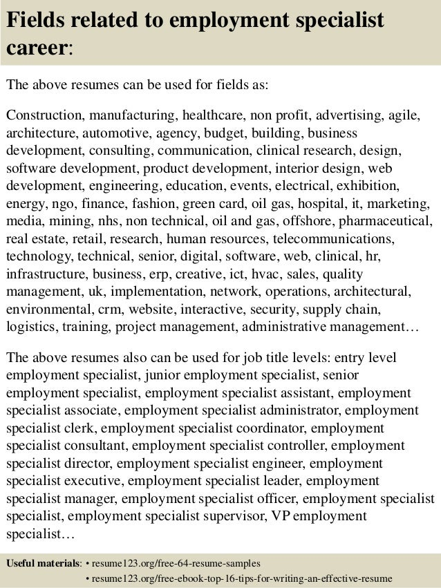 top 8 employment specialist resume samples