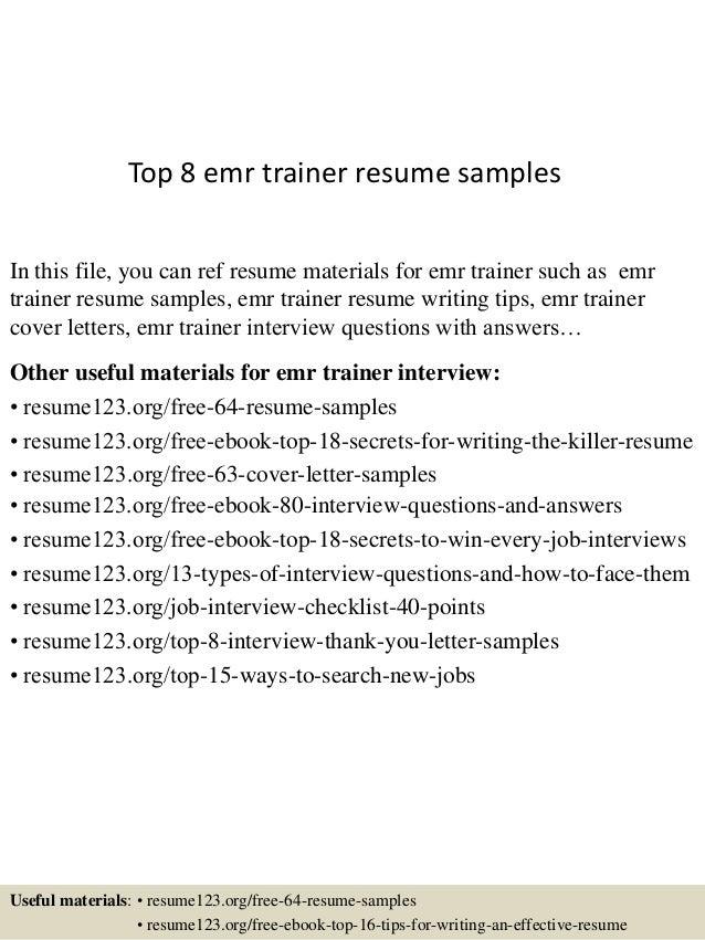 emr trainer resume