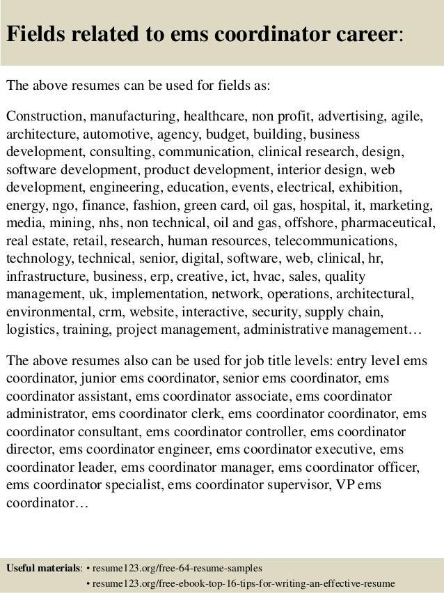 Top 8 ems coordinator resume samples