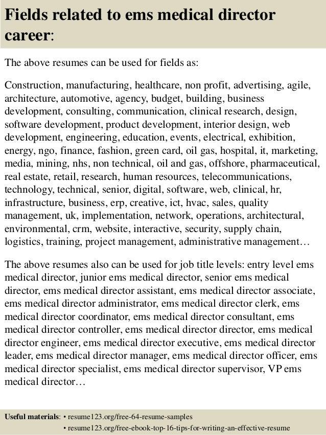 Top 8 ems medical director resume samples
