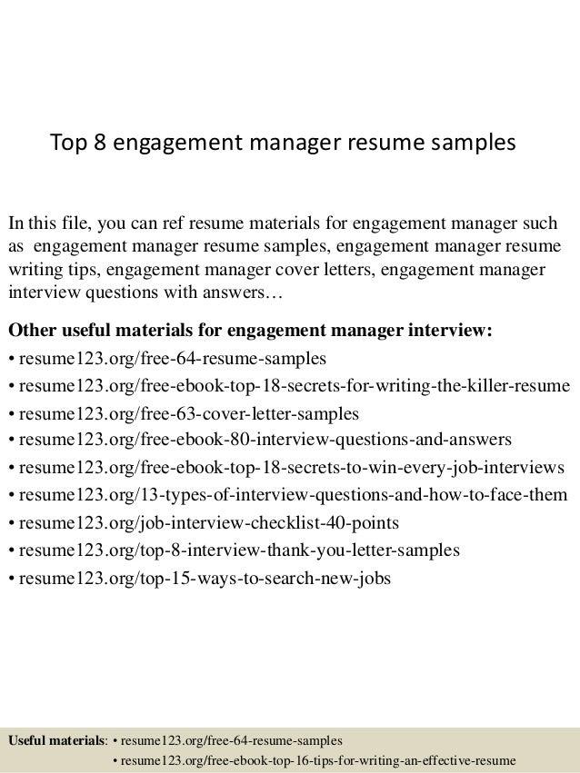 engagement manager resume - Madran kaptanband co