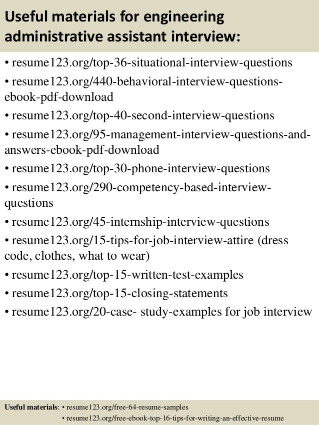 Top  Engineering Administrative Assistant Resume Samples