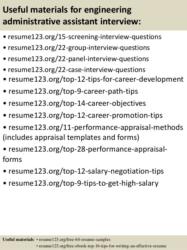 top 8 engineering administrative assistant resume samples - Administrative Assistant Resume Objectives