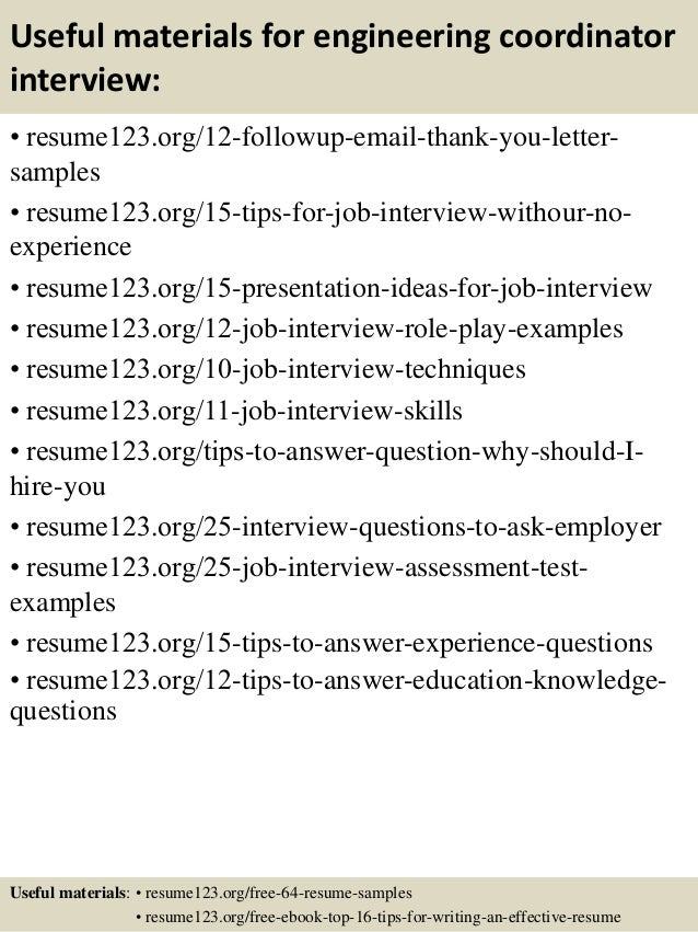 Top 8 Engineering Coordinator Resume Samples