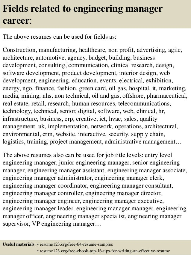 16 fields related to engineering manager